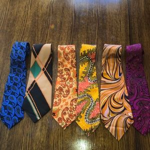 Men's retro handmade Thai silk ties bundle of 6